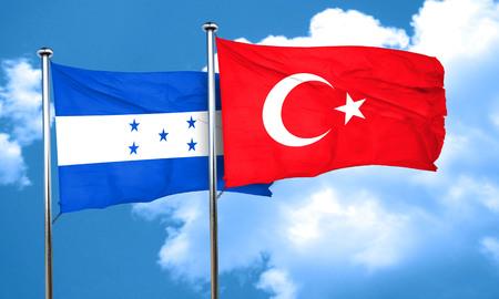 bandera de honduras: bandera de Honduras con bandera de Turqu�a, 3D