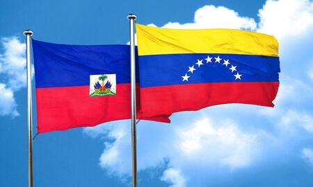 venezuela flag: bandera de Hait� con la bandera de Venezuela, 3D