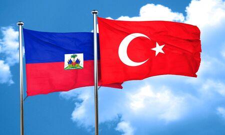 3d turkey: Haiti flag with Turkey flag, 3D rendering