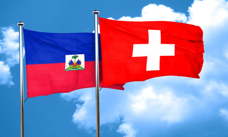 Haiti flag with Switzerland flag, 3D rendering Фото со стока