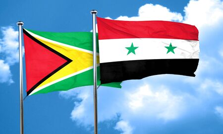 guyana: Guyana flag with Syria flag, 3D rendering