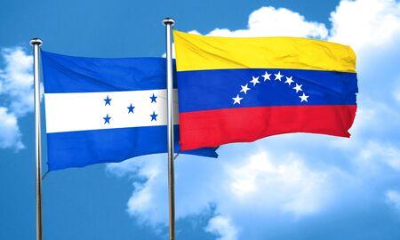 bandera honduras: bandera de Honduras con la bandera de Venezuela, 3D Foto de archivo