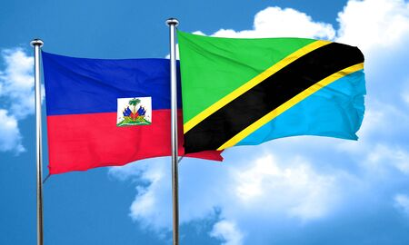 haiti: Haiti flag with Tanzania flag, 3D rendering