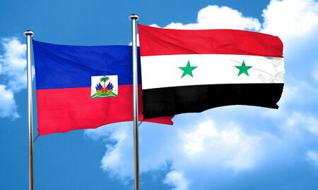 haiti: Haiti flag with Syria flag, 3D rendering