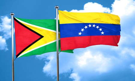 venezuela flag: Guyana flag with Venezuela flag, 3D rendering