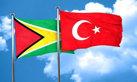 3d turkey: Guyana flag with Turkey flag, 3D rendering