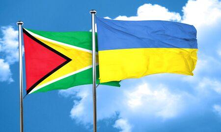 ukraine flag: Guyana flag with Ukraine flag, 3D rendering