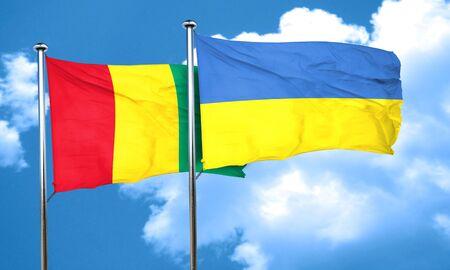 ukraine flag: Guinea flag with Ukraine flag, 3D rendering Stock Photo