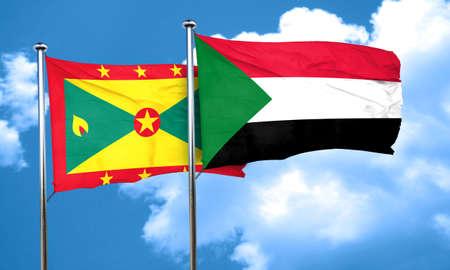 grenada: Grenada flag with Sudan flag, 3D rendering Stock Photo
