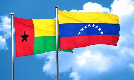 venezuela flag: Guinea bissau flag with Venezuela flag, 3D rendering