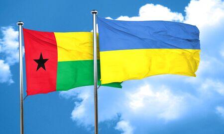 ukraine flag: Guinea bissau flag with Ukraine flag, 3D rendering Stock Photo