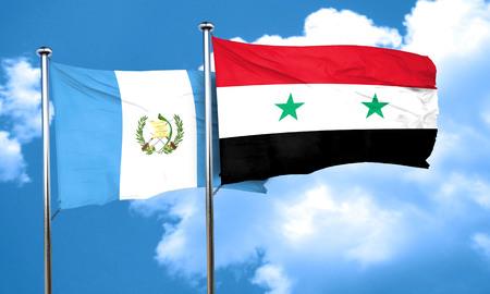 bandera de guatemala: bandera de Guatemala con la bandera de Siria, 3D Foto de archivo