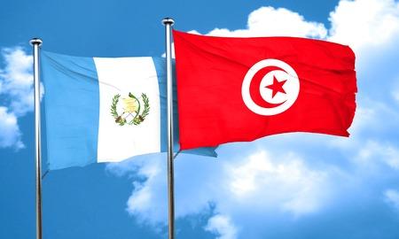 bandera de guatemala: bandera de Guatemala con la bandera de T�nez, 3D