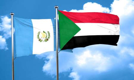 guatemalan: guatemala flag with Sudan flag, 3D rendering