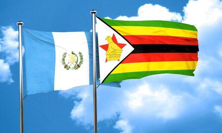 zimbabwe: guatemala flag with Zimbabwe flag, 3D rendering