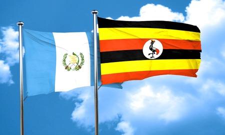 bandera de guatemala: bandera de Guatemala con la bandera de Uganda, 3D Foto de archivo