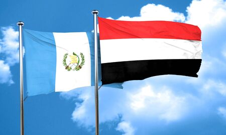 flag of guatemala: guatemala flag with Yemen flag, 3D rendering Foto de archivo