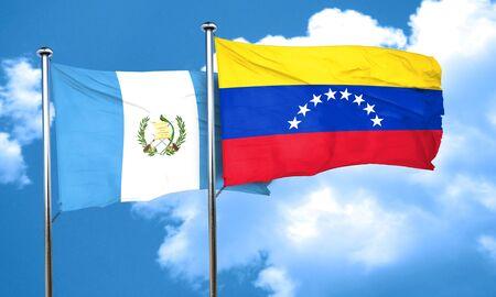 guatemala flag: bandera de Guatemala con la bandera de Venezuela, 3D