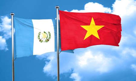 bandera de guatemala: bandera de Guatemala con la bandera de Vietnam, 3D