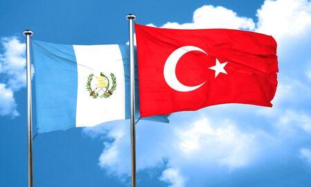 bandera de guatemala: bandera de Guatemala con bandera de Turquía, 3D Foto de archivo
