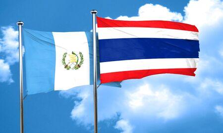 bandera de guatemala: guatemala flag with Thailand flag, 3D rendering