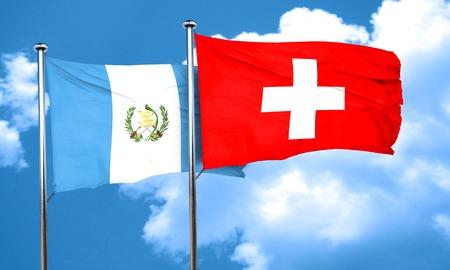 bandera de guatemala: bandera de Guatemala con la bandera Suiza, 3D