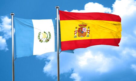 guatemalan: guatemala flag with Spain flag, 3D rendering
