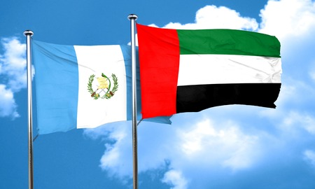 bandera de guatemala: guatemala flag with UAE flag, 3D rendering