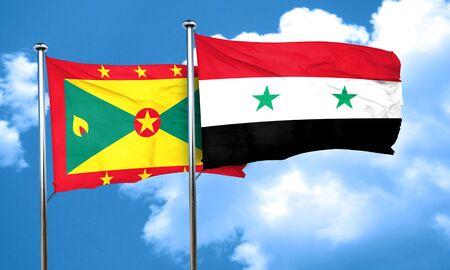 grenada: Grenada flag with Syria flag, 3D rendering