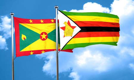 zimbabwe: bandera de Granada con la bandera de Zimbabwe, 3D