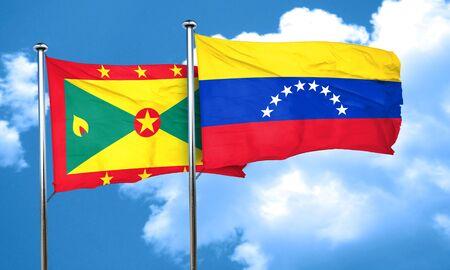 bandera de venezuela: Grenada flag with Venezuela flag, 3D rendering