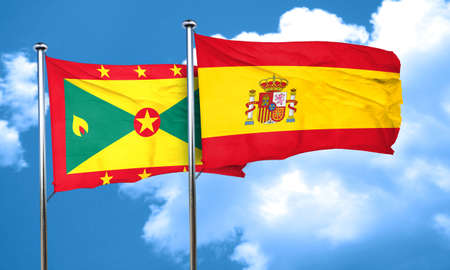 grenada: Grenada flag with Spain flag, 3D rendering Stock Photo