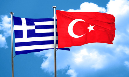 greece flag: Greece flag with Turkey flag, 3D rendering Stock Photo
