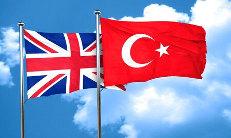 england politics: Great britain flag with Turkey flag, 3D rendering
