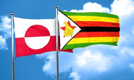 zimbabue: Bandera de Groenlandia con la bandera de Zimbabwe, 3D Foto de archivo