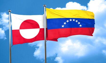 venezuela flag: greenland flag with Venezuela flag, 3D rendering Stock Photo