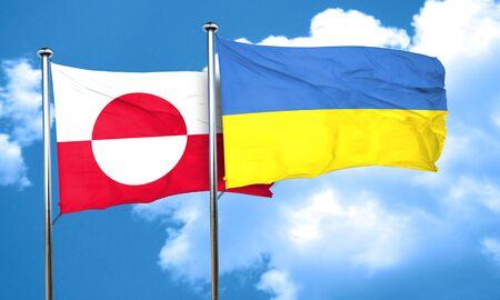ukraine flag: greenland flag with Ukraine flag, 3D rendering