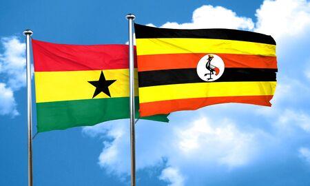 ghanese: Ghana flag with Uganda flag, 3D rendering Stock Photo