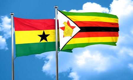 ghanese: Ghana flag with Zimbabwe flag, 3D rendering Stock Photo