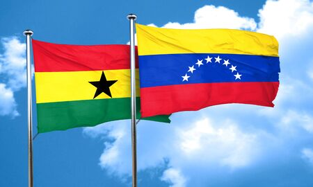 Ghana: Ghana flag with Venezuela flag, 3D rendering Stock Photo