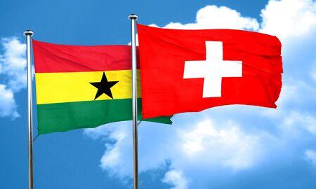 ghanese: Ghana flag with Switzerland flag, 3D rendering