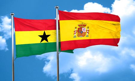 ghanese: Ghana flag with Spain flag, 3D rendering