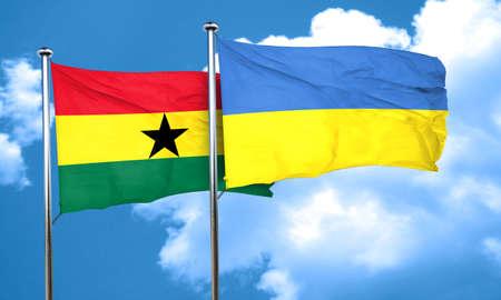 ukraine flag: Ghana flag with Ukraine flag, 3D rendering