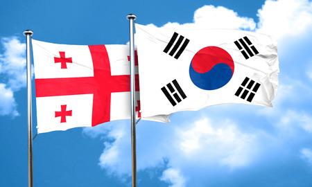 korea flag: Georgia flag with South Korea flag, 3D rendering