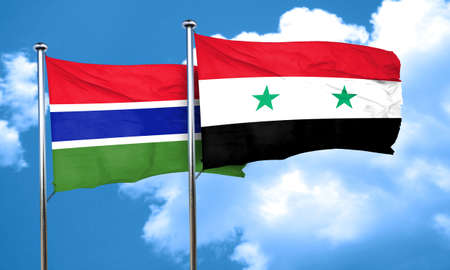 syria: Gambia flag with Syria flag, 3D rendering