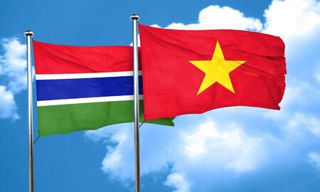 vietnam flag: Gambia flag with Vietnam flag, 3D rendering