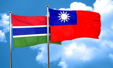 taiwanese: Gambia flag with Taiwan flag, 3D rendering