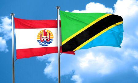 polynesia: french polynesia flag with Tanzania flag, 3D rendering Stock Photo