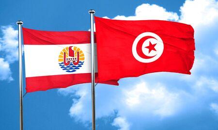polynesia: french polynesia flag with Tunisia flag, 3D rendering