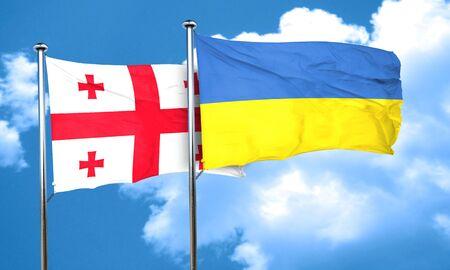 ukraine flag: Georgia flag with Ukraine flag, 3D rendering
